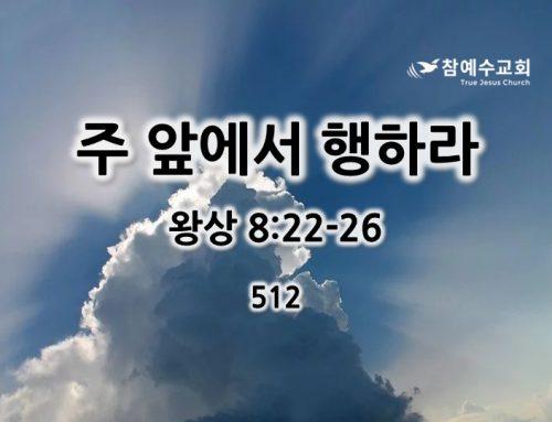 주 앞에서 행하라 (왕상 8:22-26)
