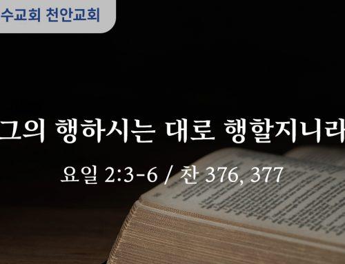 그의 행하시는 대로 행할지니라 (요일 2:3-6)