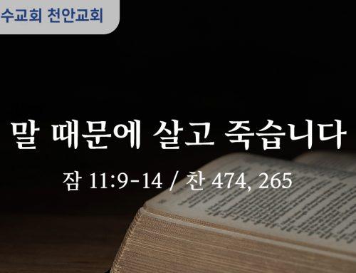 말 때문에 살고 죽습니다 (잠 11:9-14)