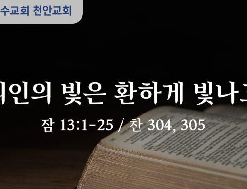 의인의 빛은 환하게 빛나고 (잠 13:1-25)