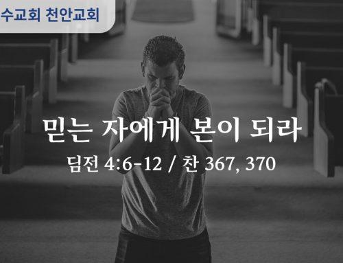 믿는 자에게 본이 되라 (딤전 4:6-12)